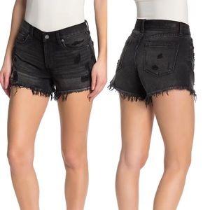 Blank NYC High Rise Raw Hem Black Denim Shorts
